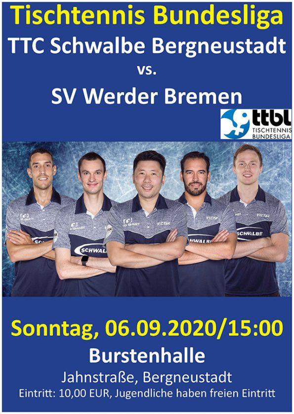 Tischtennis Bundesliga TTC Schwalbe Bergneustadt - SV Werder Bremen Heimspiel Burstenhalle
